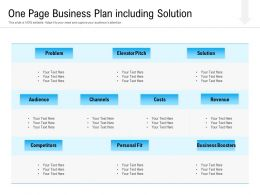 One Page Business Plan Including Solution