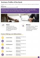 One Page Business Profile Of The Bank Presentation Report Infographic PPT PDF Document