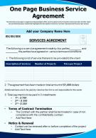 One Page Business Service Agreement Presentation Report Infographic PPT PDF Document