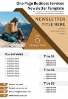 One Page Business Services Newsletter Template Presentation Report Infographic PPT PDF Document