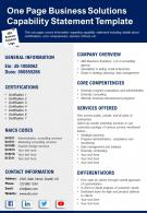 One Page Business Solutions Capability Statement Template Presentation Report Infographic PPT PDF Document