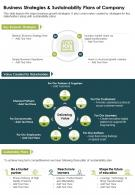 One Page Business Strategies And Sustainability Plans Of Company Report Infographic PPT PDF Document