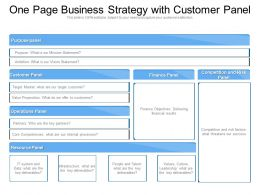 One Page Business Strategy With Customer Panel
