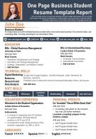 One Page Business Student Resume Template Report Presentation Report Infographic PPT PDF Document