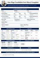 One Page Candidate Fact Sheet Template Presentation Report Infographic PPT PDF Document