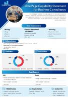 One Page Capability Statement For Business Consultancy Presentation Report Infographic Ppt Pdf Document