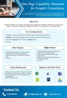 One Page Capability Statement For Graphic Consultancy Presentation Report Infographic Ppt Pdf Document