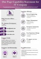 One Page Capability Statement For IT Company Presentation Report Infographic Ppt Pdf Document