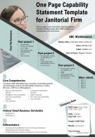 One Page Capability Statement Template For Janitorial Firm Presentation Report Infographic PPT PDF Document