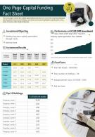 One Page Capital Funding Fact Sheet Presentation Report Infographic PPT PDF Document