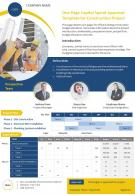 One Page Capital Spend Approval Template For Construction Project Presentation Report Infographic PPT PDF Document