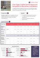 One Page Capital Spend Approval Template For Machinery Installation Report Infographic PPT PDF Document