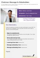 One Page Chairman Message To Stakeholders Presentation Report Infographic PPT PDF Document