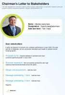 One Page Chairmans Letter To Stakeholders Presentation Report Infographic PPT PDF Document