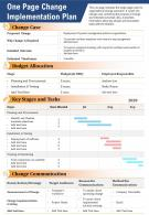 One Page Change Implementation Plan Presentation Report Infographic PPT PDF Document