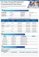 One Page Change Management Communication Plan Layout Presentation PPT PDF Document