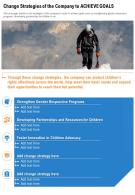 One Page Change Strategies Of The Company To Achieve Goals Presentation Report Infographic PPT PDF Document