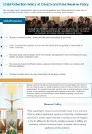 One Page Child Protection Policy Of Church And Fund Reserve Policy Presentation Report Infographic PPT PDF Document