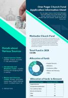 One Page Church Fund Application Information Sheet Presentation Report Infographic PPT PDF Document