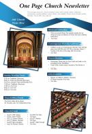 One Page Church Newsletter Presentation Report Infographic PPT PDF Document