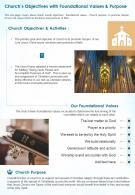 One Page Churchs Objectives With Foundational Values And Purpose Presentation Report Infographic PPT PDF Document