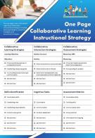 One Page Collaborative Learning Instructional Strategy Presentation Report Infographic PPT PDF Document