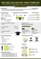 One Page College Fact Sheet Template Presentation Report Infographic PPT PDF Document