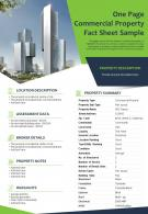 One Page Commercial Property Fact Sheet Sample Presentation Report Infographic PPT PDF Document