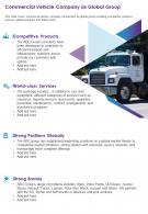 One Page Commercial Vehicle Company As Global Group Template 178 Presentation Infographic PPT PDF Document