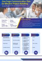 One Page Communication Plan For Effective Project Handling Presentation Report Infographic PPT PDF Document