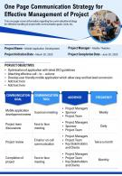 One Page Communication Strategy For Effective Management Of Project Report Infographic PPT PDF Document