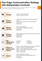 One Page Communication Strategy With Stakeholders Involved Presentation Report Infographic PPT PDF Document