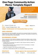One Page Community Action Memo Template Report Presentation Report Infographic PPT PDF Document