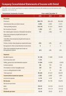 One Page Company Consolidated Statements Of Income With Detail Report Infographic PPT PDF Document