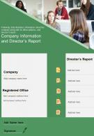 One Page Company Information And Directors Report Presentation Report Infographic PPT PDF Document