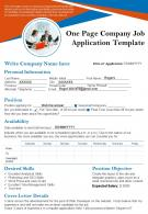One Page Company Job Application Template Presentation Report Infographic PPT PDF Document