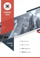 One Page Company Logo Contact Us Page Business Development Report Infographic PPT PDF Document