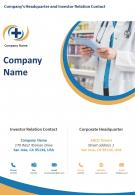 One Page Company Name Contact Us Page Pharma Product Review Report Infographic PPT PDF Document