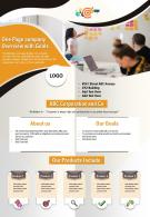 One Page Company Overview With Goals Presentation Report Infographic PPT PDF Document