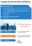One Page Company Overview With Vision And Mission Template 210 Report Infographic PPT PDF Document