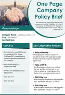 One Page Company Policy Brief Presentation Report Infographic PPT PDF Document