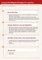 One Page Company Risk Mitigation Strategies For Long Term Report Infographic PPT PDF Document