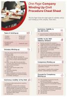 One Page Company Winding Up Civil Procedure Cheat Sheet Presentation Report Infographic PPT PDF Document