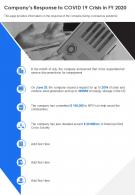 One Page Companys Action Plan To Covid19 Crisis In Fy20 Template 235 Report Infographic Ppt Pdf Document