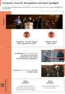 One Page Companys Awards Recognitions And News Spotlights Presentation Report Infographic PPT PDF Document