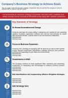 One Page Companys Business Strategy To Achieve Goals Template 88 Infographic PPT PDF Document