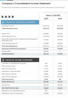 One Page Companys Consolidated Income Statement Presentation Report Infographic PPT PDF Document