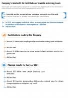 One Page Companys Goal With Its Contributions Towards Achieving Goals Report Infographic PPT PDF Document