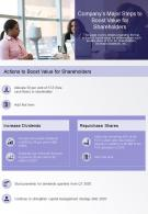 One Page Companys Major Steps To Boost Value For Shareholders Presentation Report Infographic PPT PDF Document