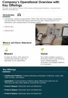 One Page Companys Operational Overview With Key Offerings Report Infographic PPT PDF Document